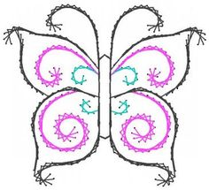 Swirl Butterfly Paper Embroidery Pattern for Greeting Cards