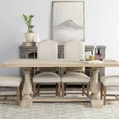 Farmhouse with Front Porch - Home Bunch Interior Design Ideas Solid Wood Dining Table, Dining Table In Kitchen, Dining Room, Traditional Dining Tables, Farmhouse Sink Kitchen, Dining Furniture, Table And Chairs, New Homes, Interior Design
