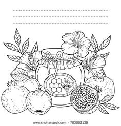Autumn vector coloring page for adults. Black and white background silhouette. Harvest of ripe apples, pomegranates and honey pot. Rosh hashanah jewish new year holiday Food Coloring Pages, Pattern Coloring Pages, Adult Coloring Pages, Coloring Books, Hand Embroidery Videos, Embroidery Patterns, Apple Images, Black And White Background, Wall Art Quotes