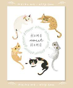 Home Sweet Home Cat Print / affiche par PaperPlants sur Etsy Cat Quotes, Animal Quotes, Crazy Cat Lady, Crazy Cats, Veggie Art, Art Prints Quotes, Quote Art, Cat Posters, Guache
