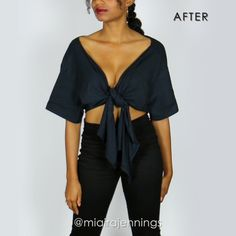 Here's how to transform a basic men's t-shirt into this stylish DIY tie front plunging crop top with NO SEWING! ✂️ Song: Last Summer x Ikson clothes refashion DIY Tie Front Plunging Crop Top (NO SEWING) Diy Shirts No Sew, Umgestaltete Shirts, T Shirt Diy, Crop T Shirt, Tie Up Shirt, Sewing Shirts, Diy Kleidung Upcycling, Diy Clothes Refashion, T Shirt Refashion