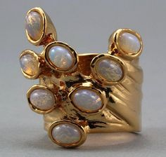 Arty Dots Ring White Fire Opal Gold Knuckle Art Statement Jewelry Avant Garde Fashion Size 6  @katybuggy