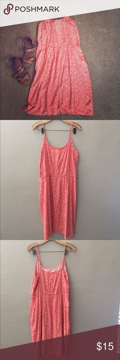Spaghetti Strap Coral Summer Dress 👗 Never Worn Coral Dress - Perfect for Summer - XL/Tall Dresses Midi