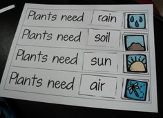 Plant unit ideas - predictive chart great for vocabulary building and the pictures are great support for ESL students