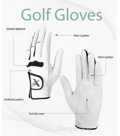 5pcs Mens Left Hand Cabretta Leather Premium White Golf Gloves #DDA