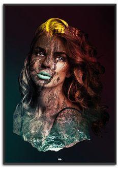 Widow of the Mountain | Køb nu på www.posure.dk | Priser fra 179,-  Moderne plakater til din indretning, med double exposure.