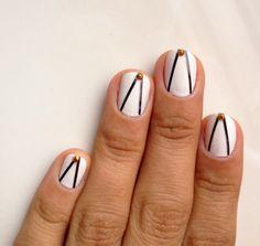 Nails nail art black white v stripes tape mani gold stud