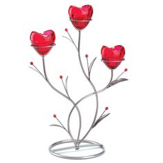 Heart Bouquet Candleholder valentines day  ruby glass heart-shaped cups #HomeLocomotion