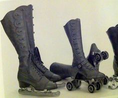 Ice skates and roller skates with ditto boots. Belonged to queen Maud of Norway, one pair is from ca. 1900, another pair from ca. 1910.