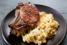 Seared cabbage and onions that are then braised with caraway, celery seed, mustard and a little stock or water. ~ SimplyRecipes.com