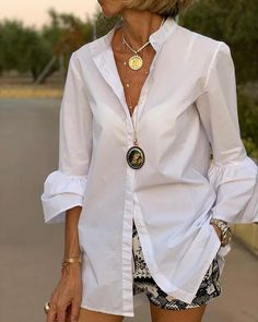 Solid Single Breasted Casual Shirt Shop- Women's Best Online Shopping - Offering Huge Discounts on Dresses, Lingerie , Jumpsuits , Swimwear, Tops and More. Look Fashion, Fashion Outfits, Womens Fashion, Tween Fashion, Fashion Clothes, Fashion Boots, High Fashion, Outfits For Teens, Casual Outfits