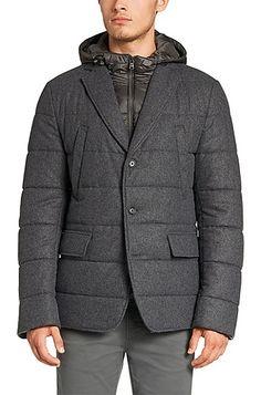Jacket in new wool blend with detachable insert: 'Cerwyn'