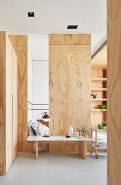 Located in Taipei, Taiwan, this compact family home works with only 33 square meters of usable floor space, but it still retains a spacious aesthetic thanks to an innovative vertical approach to architecture. Folk Design implemented this creative home. Plywood Interior, Plywood Walls, Interior Walls, Interior And Exterior, Wooden Walls, Plywood Design, Compact House, Interior Minimalista, Tiny Apartments
