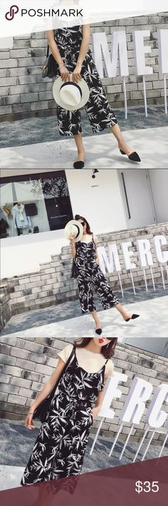 """Bamboo print jumpsuit Size L. Bust: 37"""" , waist : 25-33, butt: 33-34, length: 44.5"""". Model in the first three pic: heigh: 5'4"""", weight 105 lbs, wearing M Other"""