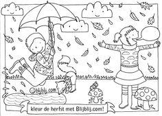 Autumn coloring for http://www.blijblij.com / Herfst kleurplaat met kindjes, wolkjes, druppels, blaadjes, paddestoelen en vosje!