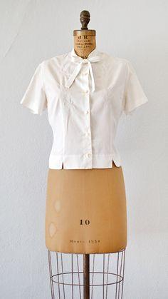 vintage 1950s blouse | Stitched Yarrow Blouse | Adored Vintage