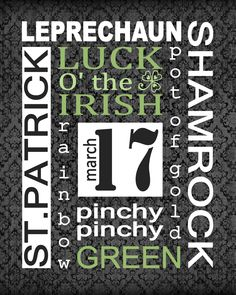 st patrick's day luck o' the irish subway art free printable St Paddys Day, St Patricks Day, Saint Patricks, Project Life, Scrapbooking, Irish Blessing, Irish Eyes, St Pats, Luck Of The Irish