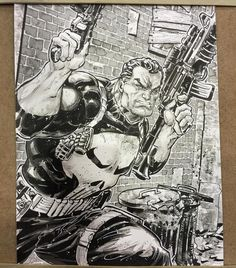 Punisher commission, from @OzComicon Perth by Freddie Williams II #InkWash #Punisher #Marvel