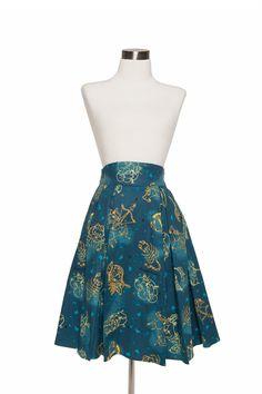 Laura Byrnes California Little Jun Skirt in Astrology print | Pinup Girl Clothing