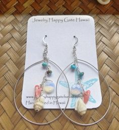 Shely sterling silver hoop earrings with by JewelHappyGateHawaii, $48.00