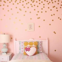 Gold Polka Dots Wall Stickers, Vinyl Decals. Set of 52 stickers 4cm for Children