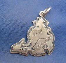 Vintage Sterling Silver ST MARTIN Island Map Charm marked STERLING