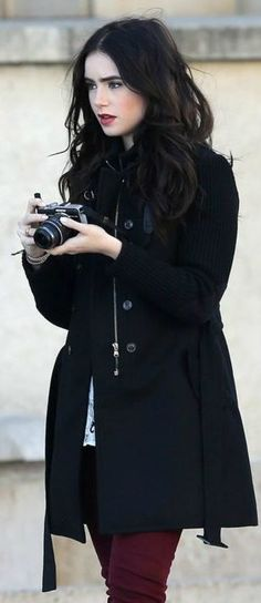 Lily Collins ♥ dark hair, those brows ... I love