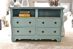 Remove top drawers to add shelf space. LOVE!