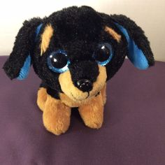 "Walmart Stuffed Plush Brutus the Dog Large Eyes with Glitter 8"" Black/Brown #Walmart"