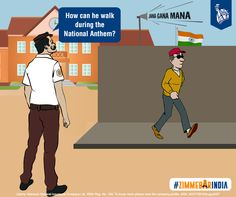The watchman approaches the passer-by, requesting him to stop till the National Anthem finishes. #ZimmedarIndia