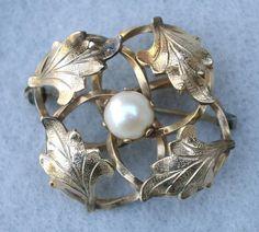 Gold Filled Leaf and Cultured Pearl Brooch Vintage #GoldFilledCulturedPearlBrooch #GiftForHer