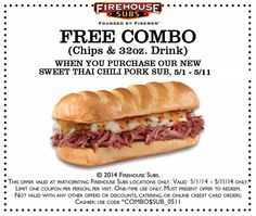 Pinned May 1st: Free chips & drink with your chili pork sub at #Firehouse Subs #coupon via The Coupons App