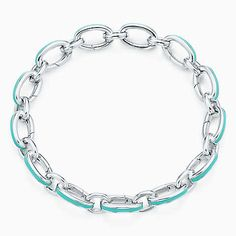 """Tiffany Blue clasping link bracelet in silver with enamel finish, 7.5"""" long."""