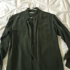 Olive equipment slim xs Equipment silk shirt size XS. Only dry cleaned. Gently used. True to size Equipment Tops Blouses
