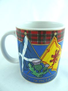 Scotland Coffee Mug By Sampson's Ltd Thistle Tartan Flags #SampsonsLTD