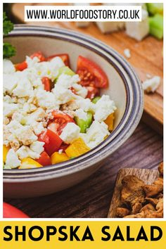 Shopska salad is a traditional dish of the Balkan, mainly from Bulgarian but Serbian and Macedonian cuisine as well. Sometimes is referred to as Bulgarian salad. It is a very simple and refreshing salad that can be prepared quickly. It is made from cucumbers, tomatoes, spring onions, peppers and salted cheese.For me, it is a fantastic indicator of how gastronomy connects people and countries. A great example of how a delicious meal can be spread across the continent quickly. Shopska Salad, Good Food, Yummy Food, Serbian, World Recipes, Bulgarian, Bon Appetit, Onions, Cobb Salad