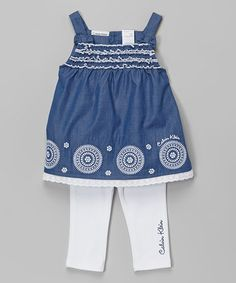 Another great find on #zulily! Navy & White Flower Top & Leggings - Infant by Calvin Klein Jeans #zulilyfinds
