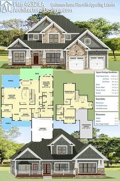 Architectural Designs 3-Bed Craftsman House Plan 46321LA gives you almost 3,000 square feet of heated living area PLUS a bonus room over the garage. Ready when you are. Where do YOU want to build?