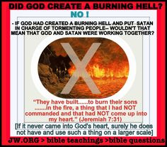 Did God create a burning hell? Bible Questions, Bible Knowledge, Bible Truth, Jehovah's Witnesses, Jesus Is Lord, Bible Lessons, Word Of God, Fun Facts, This Or That Questions