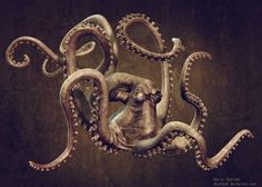 I love this illustration and how the artist made the octopus form ask these beautiful curves. Moreover, the look of the octopus facial expression is very realistic. This graphic shows a lot of artistic skill and embodies the octopus.