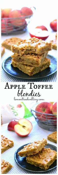 Rich, buttery Apple Toffee Blondies....made with fresh apples and a sprinkle of toffee....and lightened up with Truvia®!