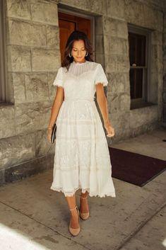 Midi Dress Outfit, Boho Midi Dress, White Midi Dress, Midi Dress With Sleeves, The Dress, Dress Outfits, Fashion Dresses, Womens White Dress, White Lace Boho Dress