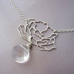 peony: sterling silver and clear crystal necklace by becial, $39.00
