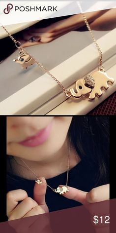 ‼️FLASH SALE‼️ Mommy and Baby Elephant Necklace Gold dainty elephant necklace. Jewelry Necklaces