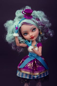Doll - Mattel's Ever After High - Madeline Hatter (daughter of the Mad Hatter) re-painted by me www.ebay.com/itm/181239568355?…