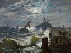 Joseph Carl Berthold Püttner - Nocturnal Harbour Entrance During a Fullmoon