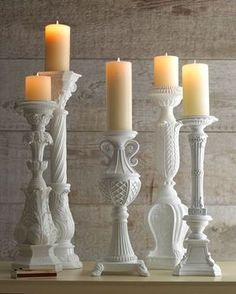 Candlesticks from old lamps Shabby creek cottage White Candle Holders, Hurricane Candle Holders, White Candles, Pillar Candles, Diy Candles, Candels, Giant Candles, Candle Stands, Vintage Candle Holders
