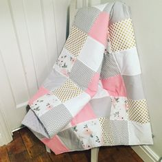 Sweet Roses Patchwork Baby Blanket  Quilt Playmat Cot