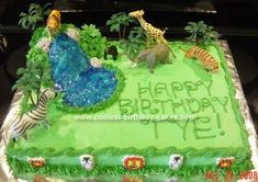 Homemade Jungle Safari Cake: I made this Jungle Safari cake for my great nephew's 5th birthday. I used a combination of several ideas from this site (thanks!) and other online pictures