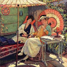 ☂ Paper Lanterns and Parasols ☂ Japonisme Art and Illustration - Clark Hobart | In a Garden